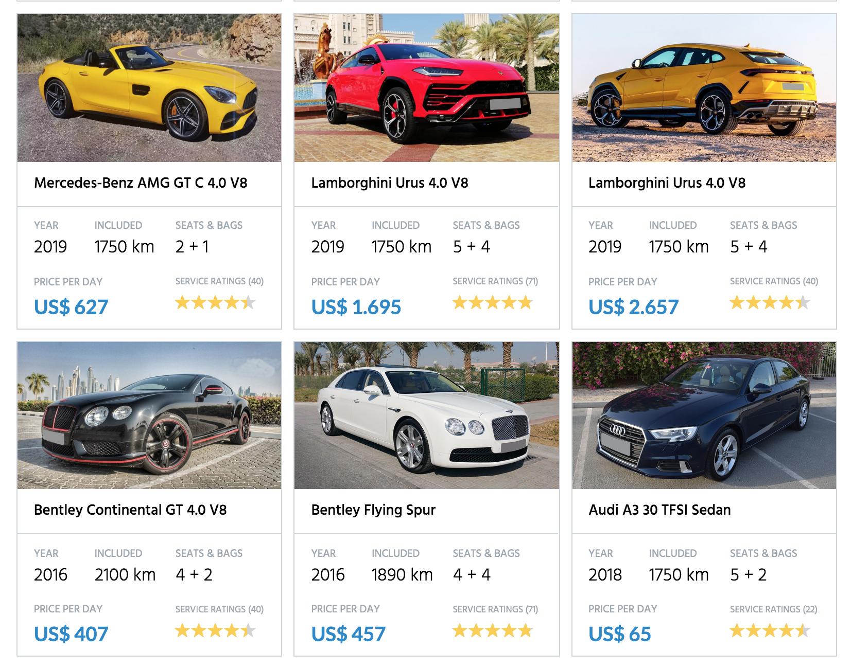 Rent Lamborghini, Ferrari, Bentley in Dubai